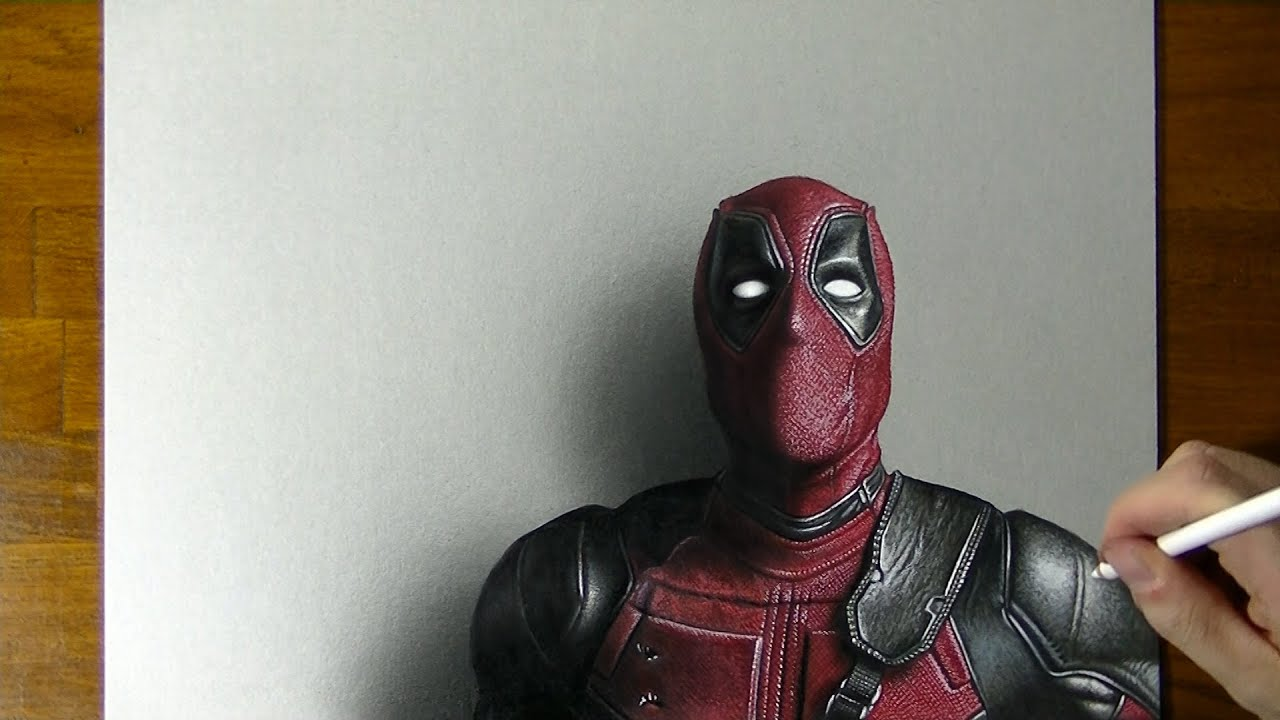 Deadpool Drawing - How to draw 3D Art