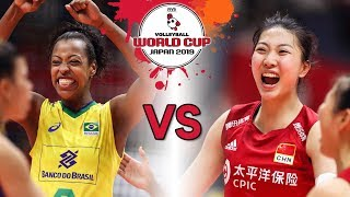 Mara Ferreira Leao vs. Xinyue Yuan 袁心玥 | Brazil vs. China | Women's Volleyball World Cup 2019