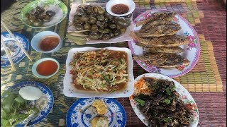 Laos , Village lunch in the field , shellfish ,Grilled Fish