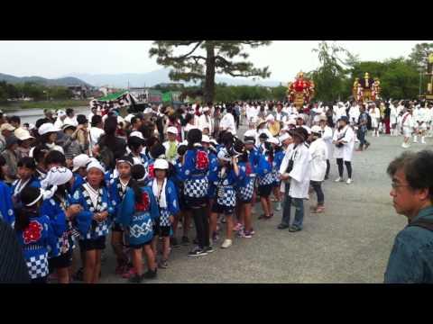 Kyoto parade ... kids turn ... mini mobile shrines