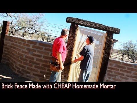 Brick Fence Made with CHEAP DIY Homemade Mortar (Construction)