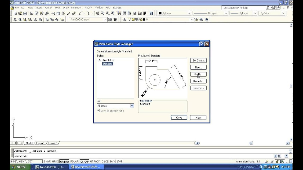 Autocad how to get dimensions in inches only youtube autocad how to get dimensions in inches only biocorpaavc Images