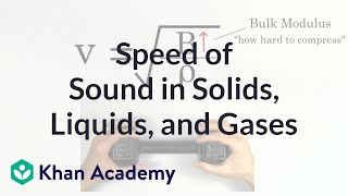 Relative speed of sound in solids, liquids, and gases | Physics | Khan Academy