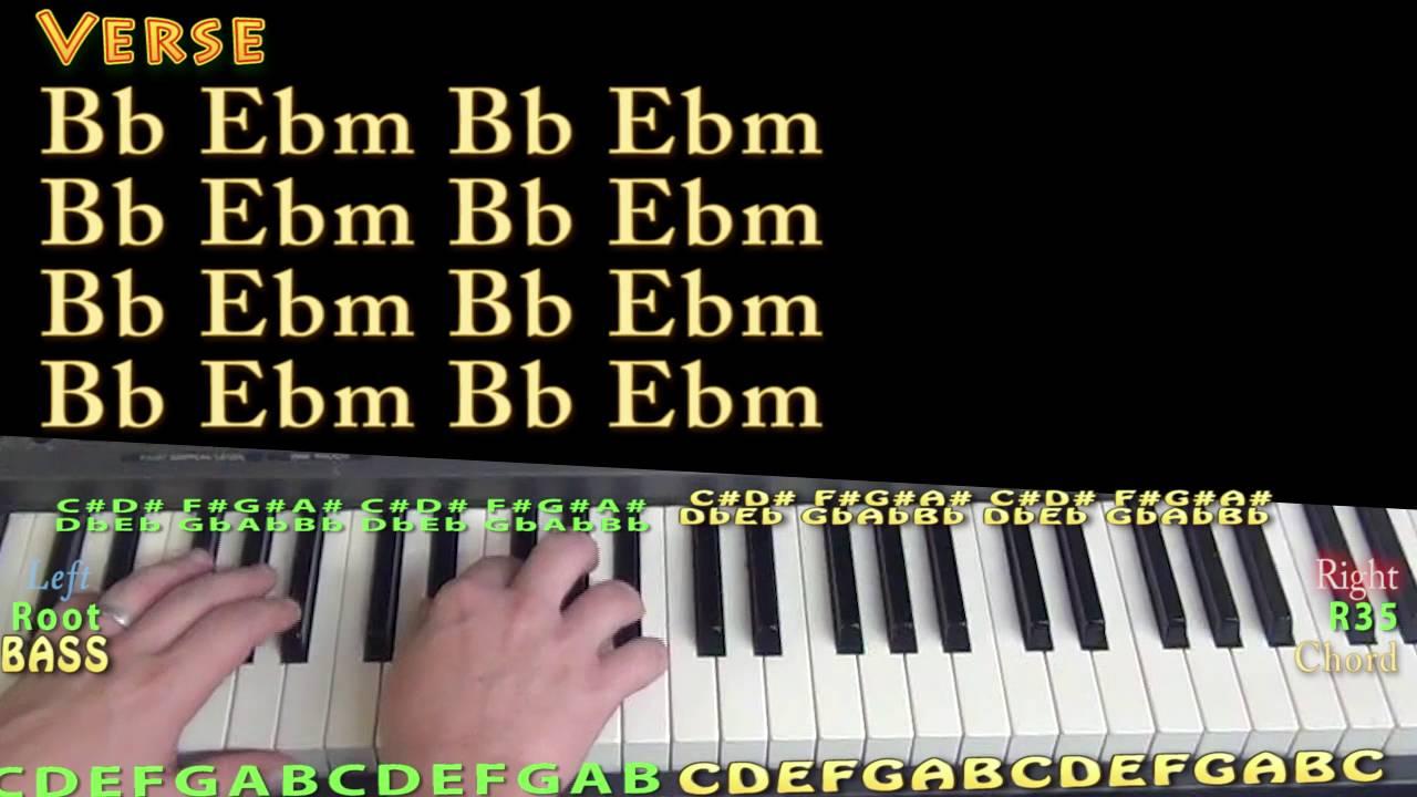 Gangsta Kehlani Piano Lesson Chord Chart   Bb Ebm Gb