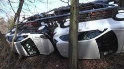 Sechs Porsche Cayenne landen in Ibbenbüren im Graben - 650.000 Euro Schaden