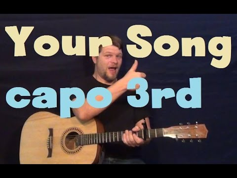 Your Song (Elton John) Easy Strum Capo 3rd Fret Guitar Lesson How to Play Tutorial