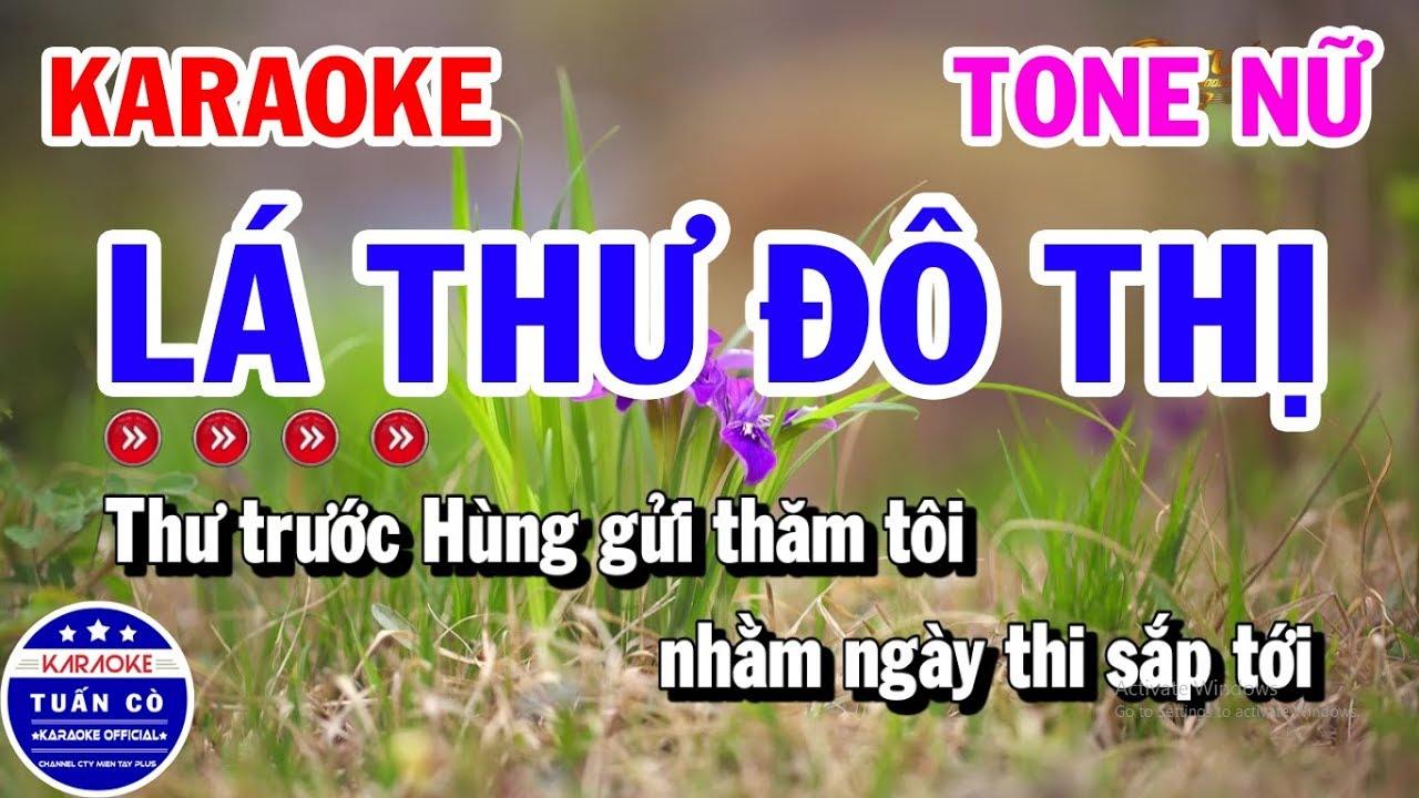 Karaoke Lá Thư Đô Thị Tone Nữ Em Nhạc Sống | Tuấn Cò Karaoke