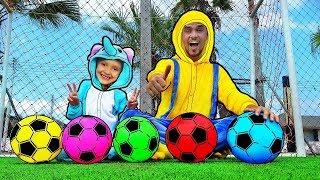 Aprender colores con fútbol bolas - bebé rimas canción dedo canciones infantiles para los niños