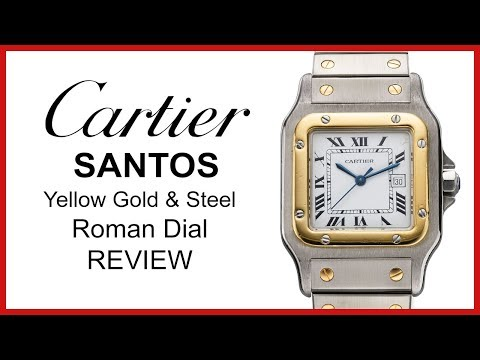 ▶ Used Cartier Santos FOR SALE: Two Tone Yellow Gold & Steel, Roman Silver Opaline Dial - REVIEW