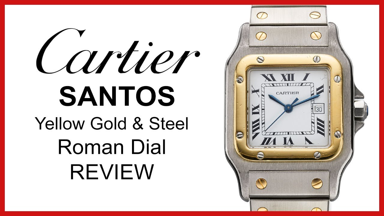 0d7dd579266 Used Cartier Santos FOR SALE: Two Tone Yellow Gold & Steel, Roman Silver  Opaline Dial - REVIEW