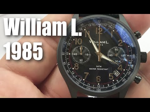 015245620 William L. 1985 Vintage Style Black IP Steel Chronograph Watch Review