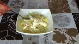 Салат с кальмарами. Салат с кальмарами рецепт.  A salad with squid. A salad recipe with subtitles.