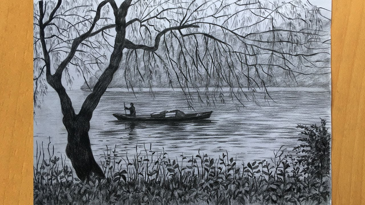 Scenery drawing in pencil simple pencil sketch river and boat drawing