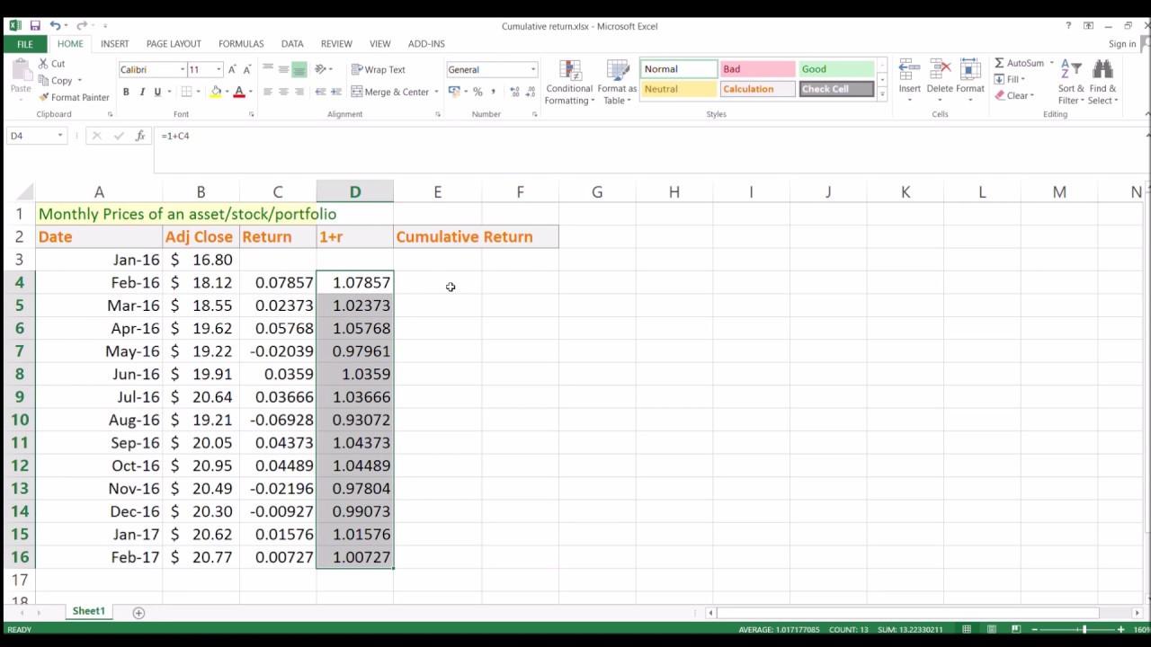 How To Calculate Cumulative Return Of A Portfolio?