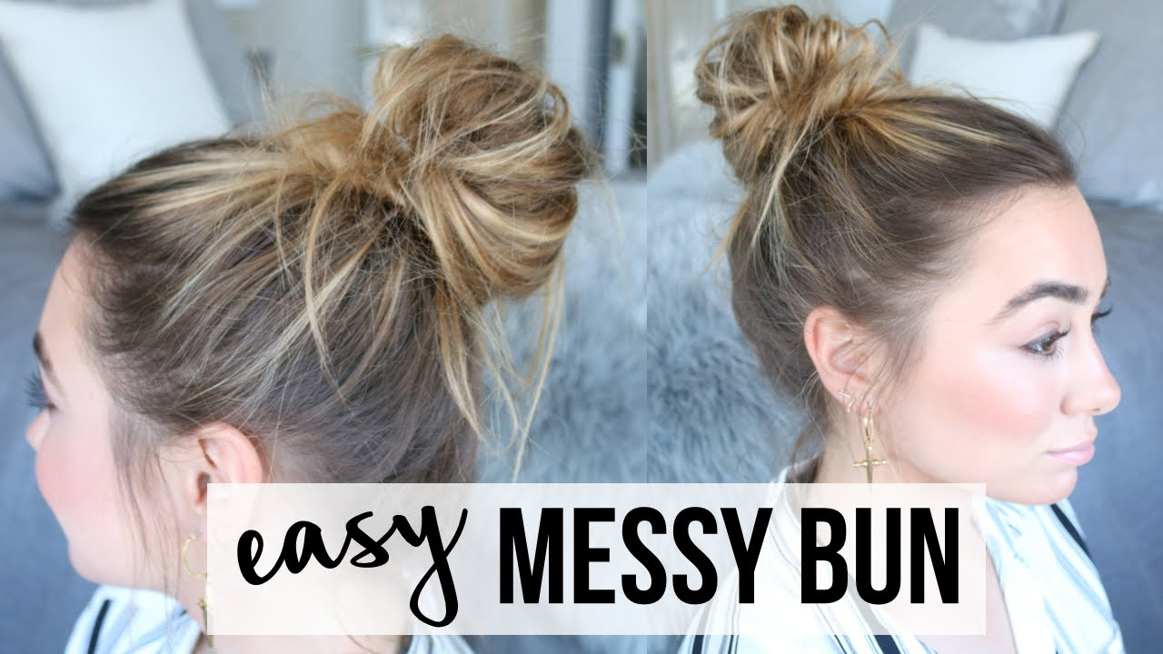 Easy messy bun tutorial fine thin hair youtube urmus Gallery
