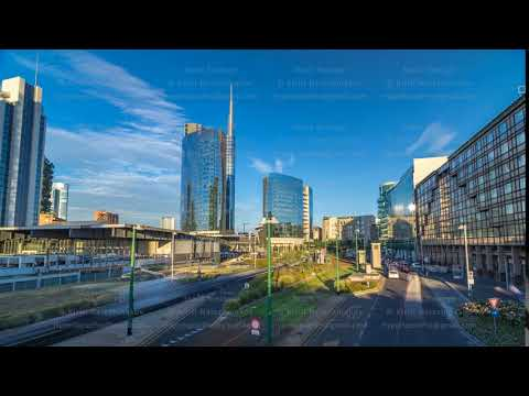 Milan skyline with modern skyscrapers in Porta Nuova business district timelapse hyperlapse in Milan