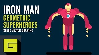 Speed Drawing Flat Character, Iron Man, Geometric Superheroes, Illustrator