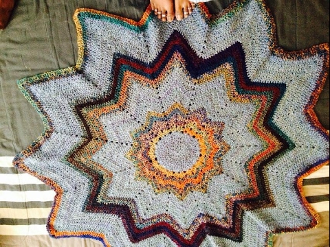 Ripple Star Blanket Spectrum Afghan Ripple Round Blanket Crochet