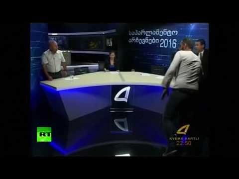 Fists fly live on Georgian TV as parliament candidates brawl