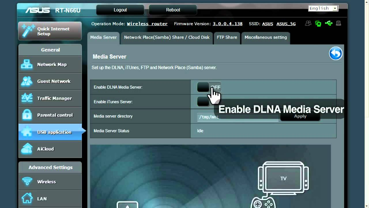 ASUS router quick how-to: DLNA media server tutorial - YouTube