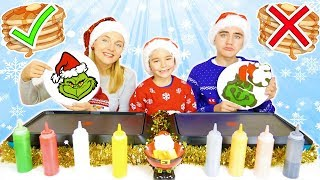 PANCAKE ART CHALLENGE 8 !!! - Mère VS Fils : Le Grinch, Sapin de Noël, Père Noël ...