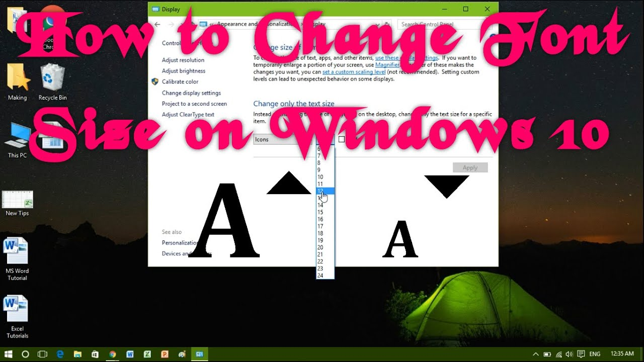 how to increase text size windows 10