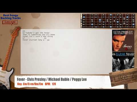 Fever - Elvis Presley / Michael Buble / Peggy Lee Guitar Backing Track with chords and lyrics