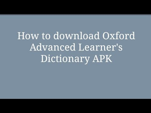 How To Download Oxford Advanced Learner's Dictionary In Free.