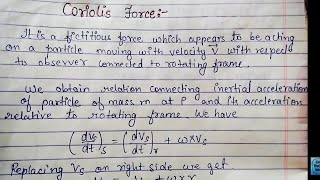 What is Coriolis force,its derivation and Its applications | BSC and MSC PHYSICS |