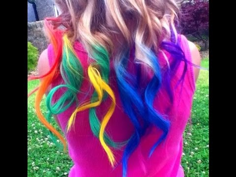 rainbow hair dyed with chalk tutorial temporary haley bronwen youtube