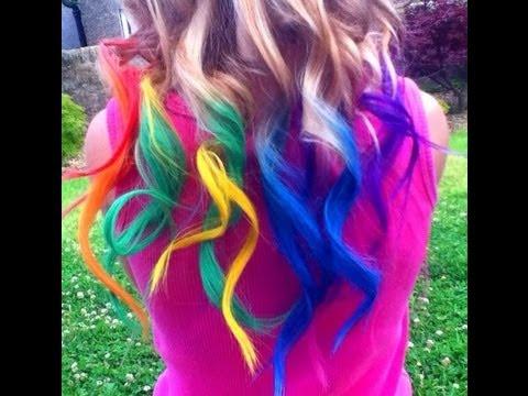 rainbow hair dyed with chalk tutorial temporary haley bronwen youtube