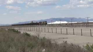 Union Pacific Railroad #5563 leads EBD Hopper train near Great Salt Lake, UT 5/8/2014