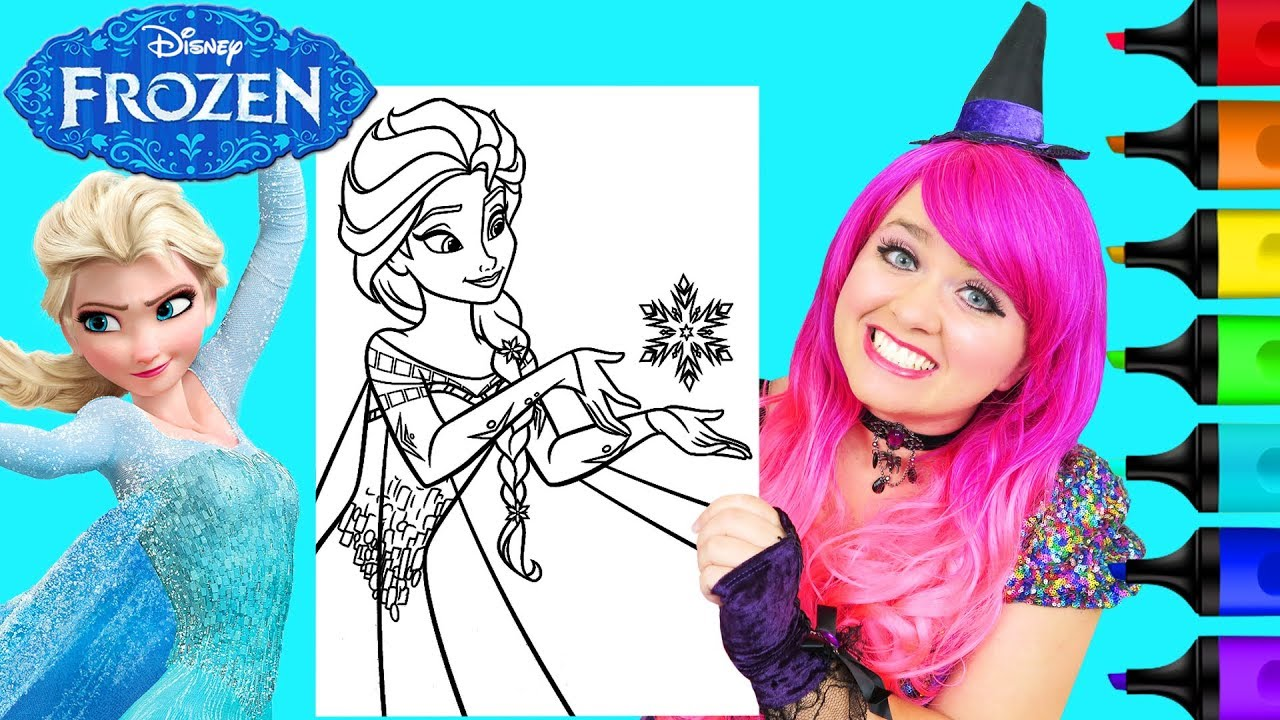 Coloring Frozen 2 Anna Giant Disney Coloring Page Crayola Crayons Kimmi The Clown Youtube