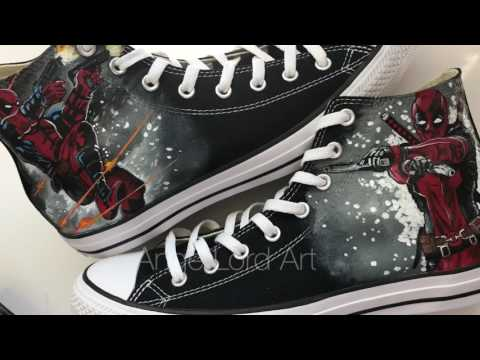 d80372ee7b0 Handpainted Deadpool inspired Converse All Stars   wallet   hand painted  shoes   custom converse