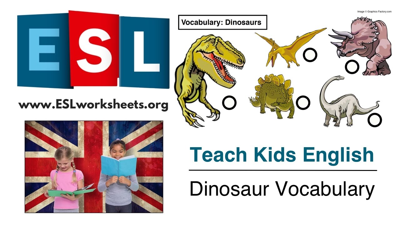 Esl Worksheets For Kids Dinosaur Vocabulary Youtube