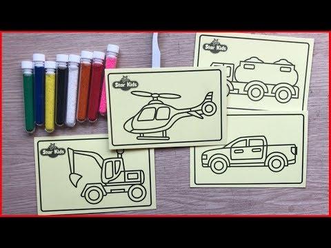 ĐỒ CHƠI TÔ MÀU TRANH CÁT CÓ 8 HŨ CÁT VÀ 4 BỨC TRANH CÁT ÔTÔ - Sand painting toys (Chim Xinh)