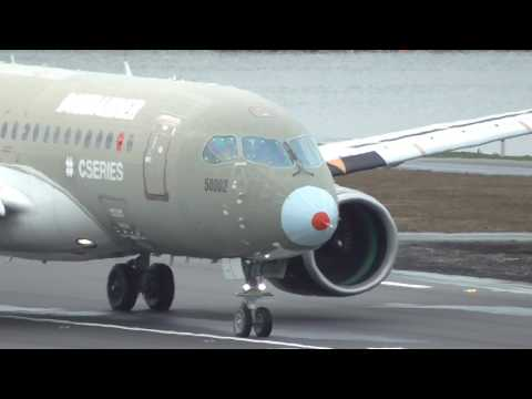 Bombardier CS100 London City Takeoff with