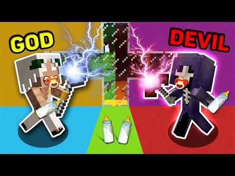 Minecraft GOD VS DEVIL : BIG BATTLE BABY GOD VS BABY DEVIL IN MINECRAFT! ANIMATION!