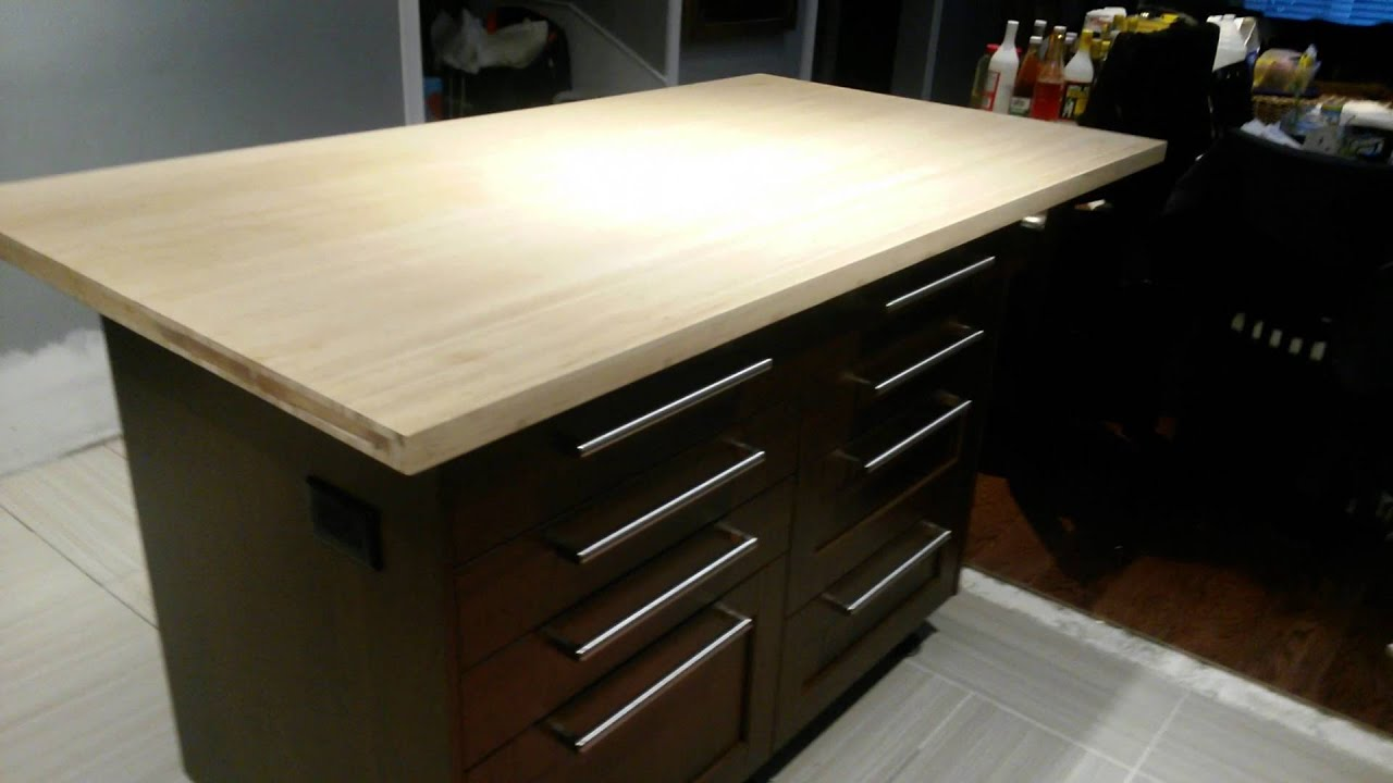 Ikea island in a bamboo counter top