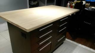 Ikea island in a bamboo counter top...