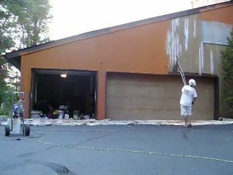 Painting Exterior Of A House Using An Airless Sprayer Youtube