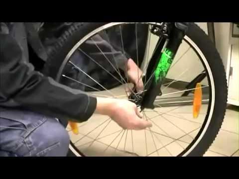 Как снять переднее колесо с ободными тормозами