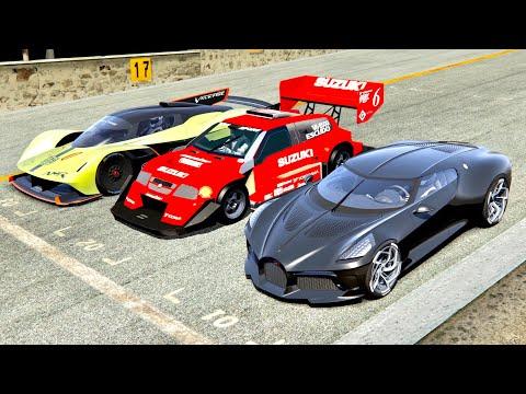 Bugatti La Voiture Noire Vs Suzuki Escudo Pikes Peak Vs Aston Martin AMR Pro - Monza