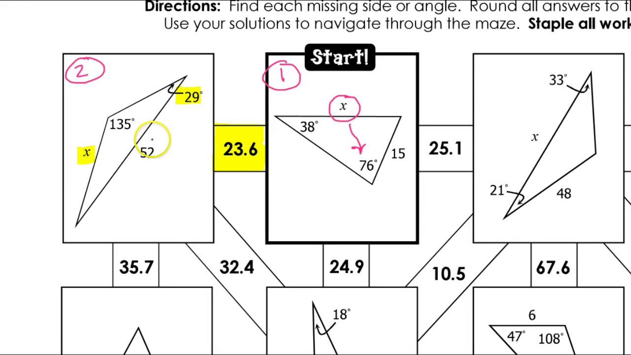 The Law Of Sines Worksheet Answers : Law Of Sines Formula