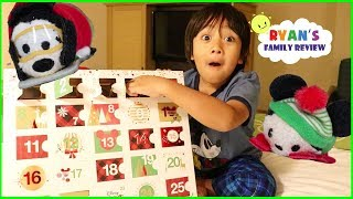 Opening Surprise Toys Disney Tsum Tusm Advent Calendar at Disney Hotel during Christmas!