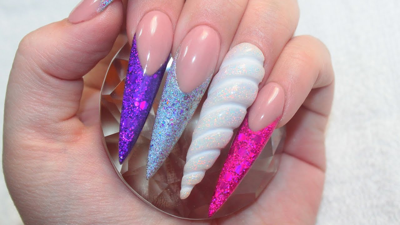 3D UNICORN HORN | UNICORN LAND ACRYLIC NAILS TUTORIAL - YouTube