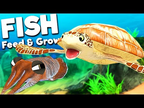 GIANT SEA TURTLE VS NEW CUTTLEFISH! | Feed And Grow Fish SURVIVAL Gameplay