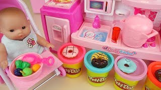 Play doh and baby doll kitchen cooking toys baby Doli play