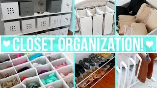 How to organize your closet including: clothing drawers, clothes, shoes, boots, jewelry, purses, bras and more! Links and more info