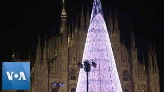 Eco-Friendly Tree Made of Christmas Lights in Italy Is Lit Up